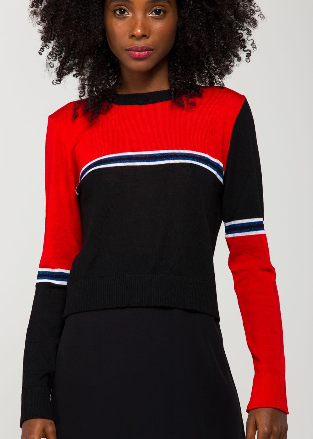 Suéter Colour Block Stripe Crop Slim Fit Knit Vermelha G
