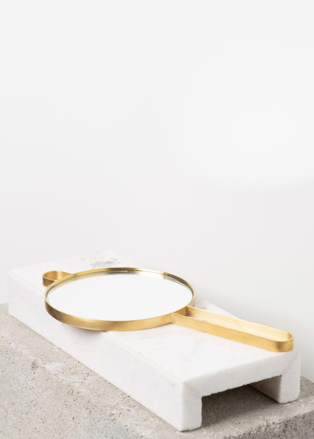 Espelho De Mão Redondo Dourada U