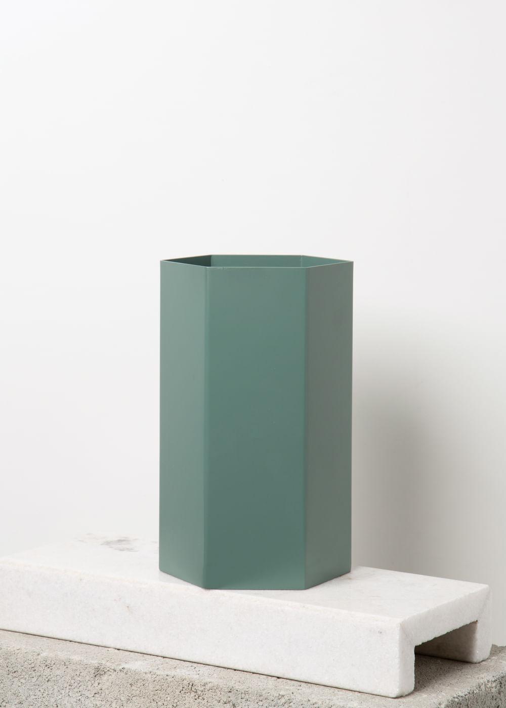 Vaso Hexagonal Dusty Green Verde Grande