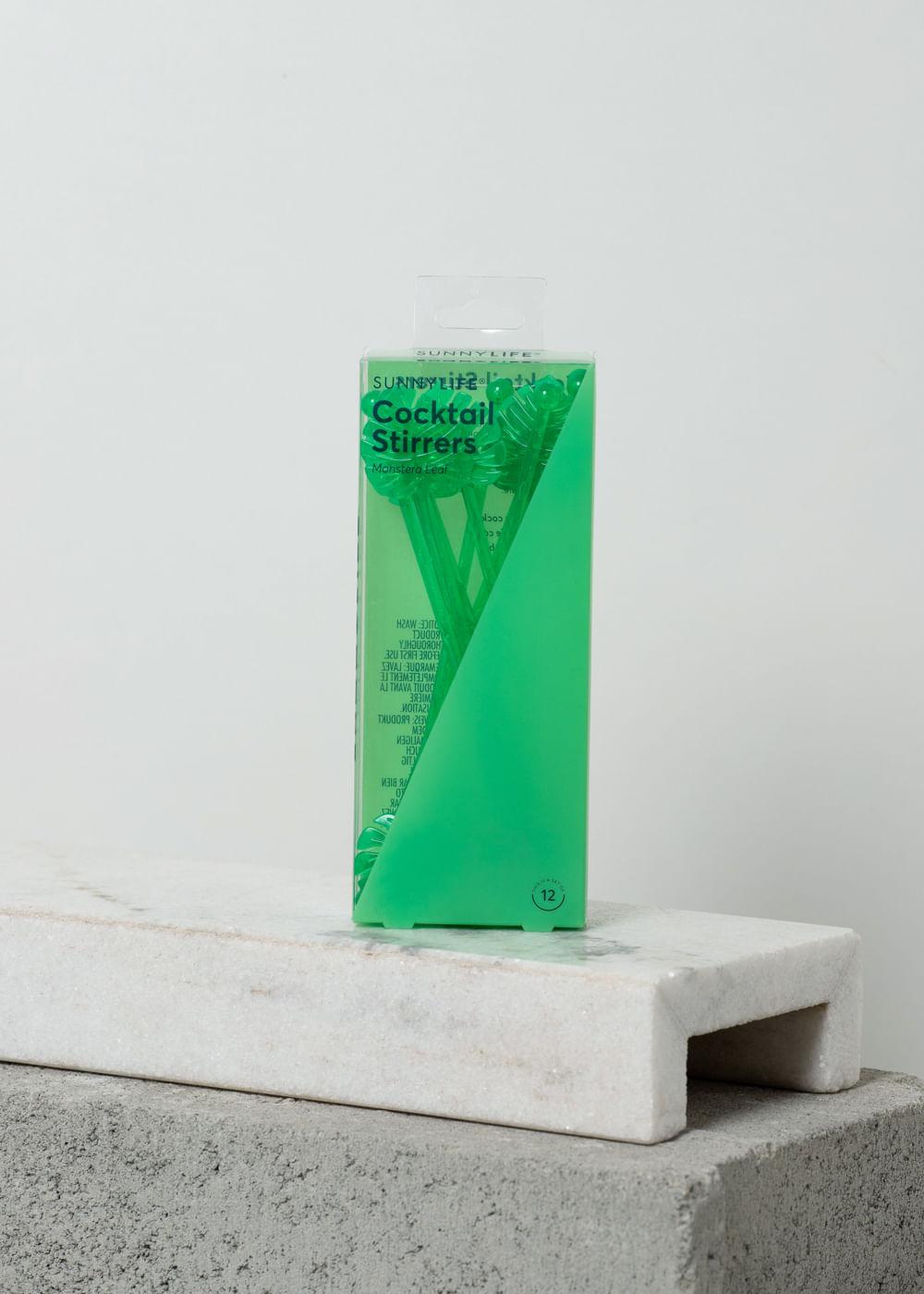 Kit Com Palitos Decorados Para Cocktails Monstera Leaf Verde U