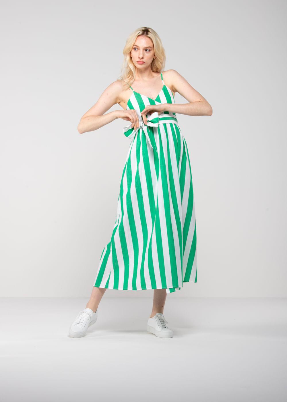 Vestido Listrado Alma  Verde G