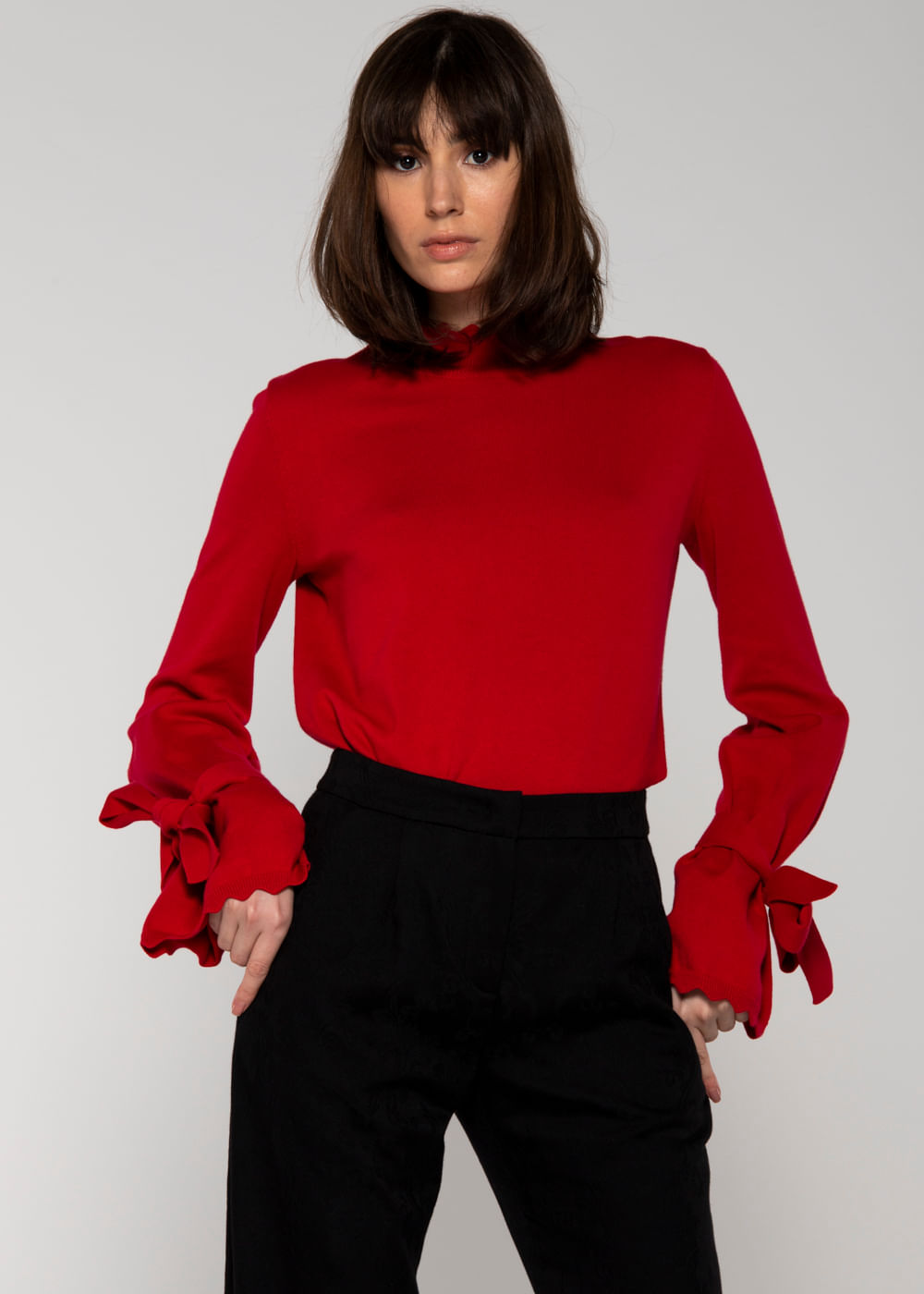 Suéter De Algodão Iris Vermelha Vermelha G