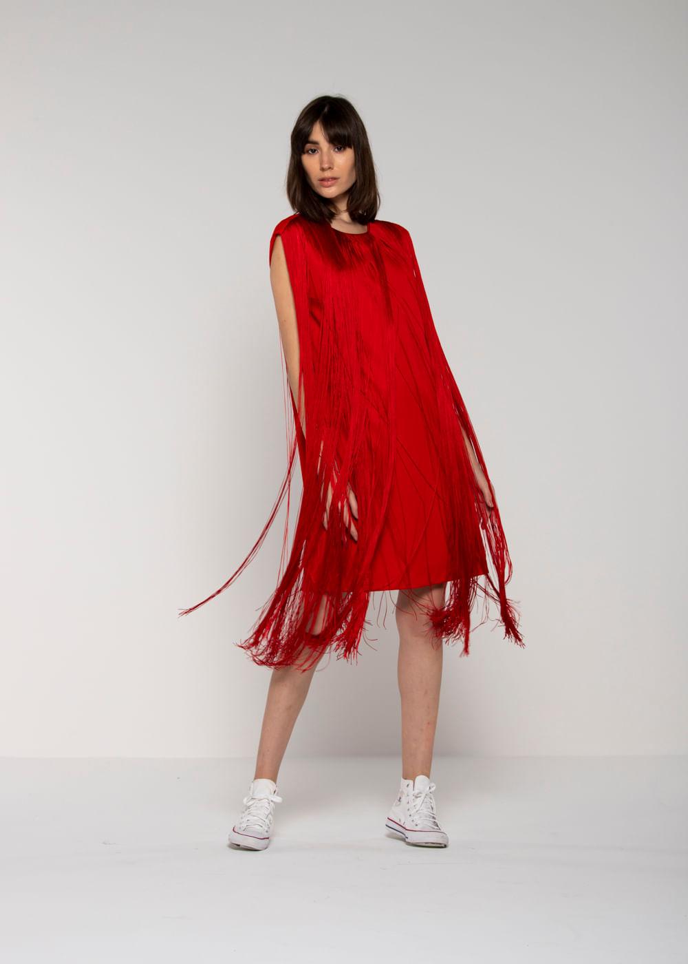 Vestido De Viscose Franja Vermelho Vermelha 44 It