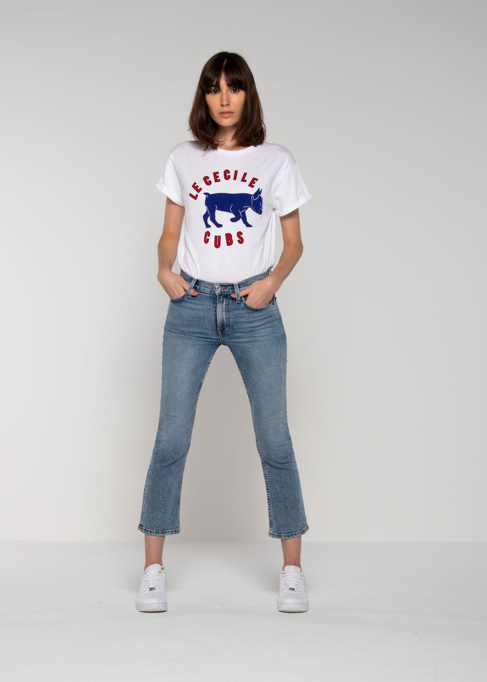 Camiseta De Algodão Cecile Cubs Branco Branca P