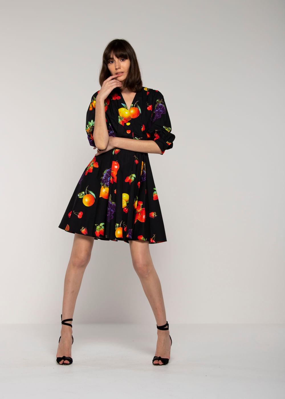 Vestido Decote Em V Com Estampa Multicolorida Preta 40 It