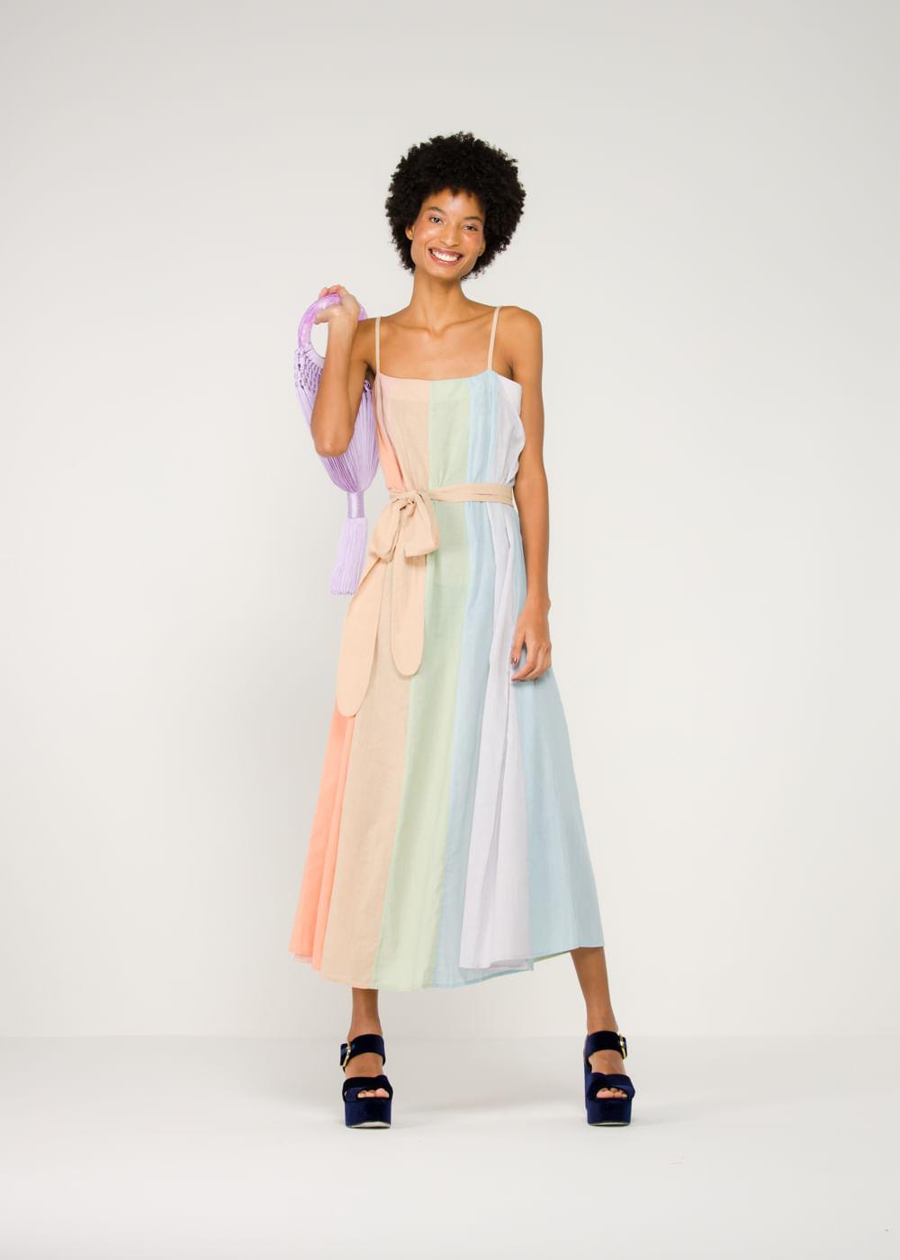 Vestido De Algodão Philomena Colorido Colorida M