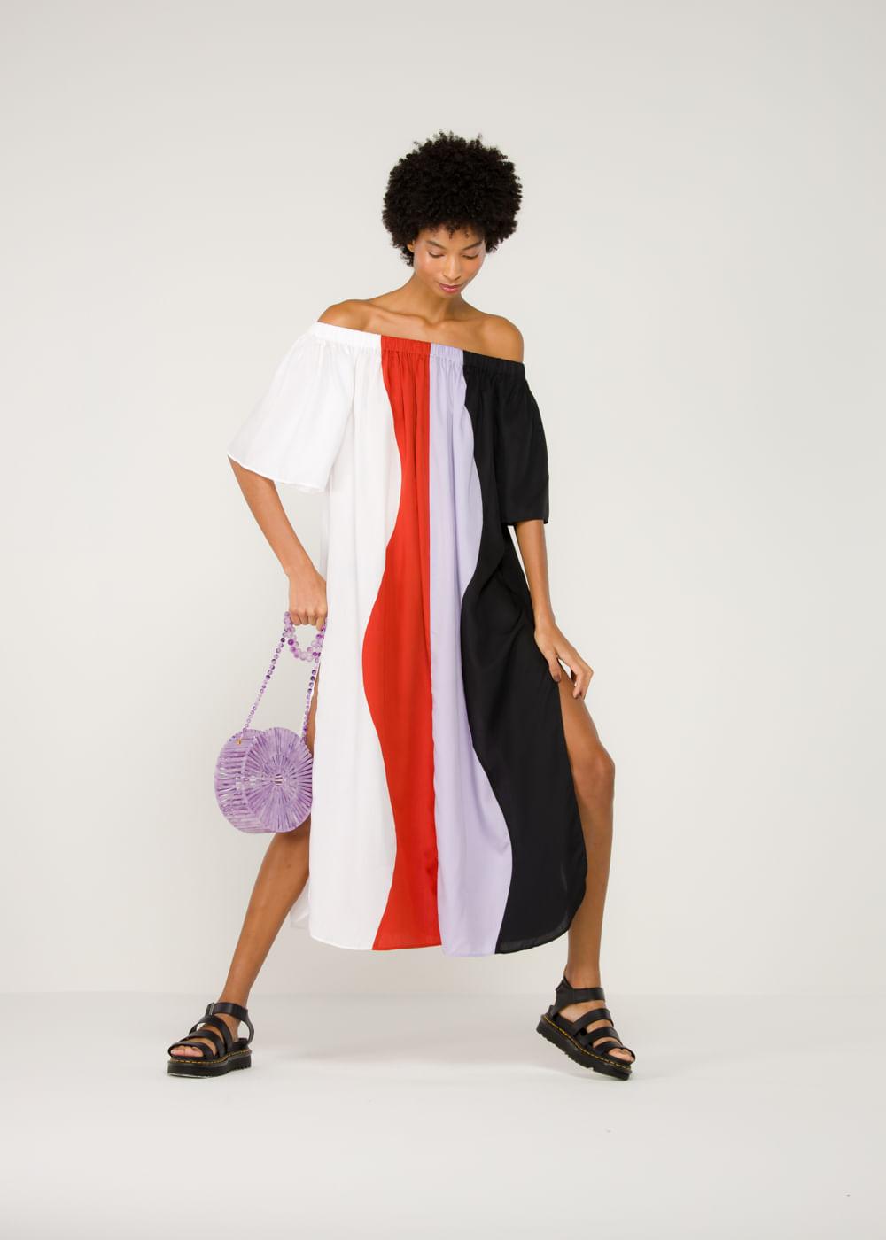 Vestido De Liocel Sala Multicolorido Colorida P