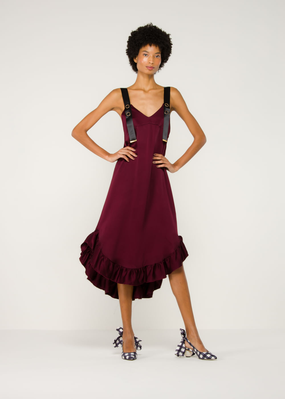 Vestido De Crepe Florence Bordô Bordô 8 Uk
