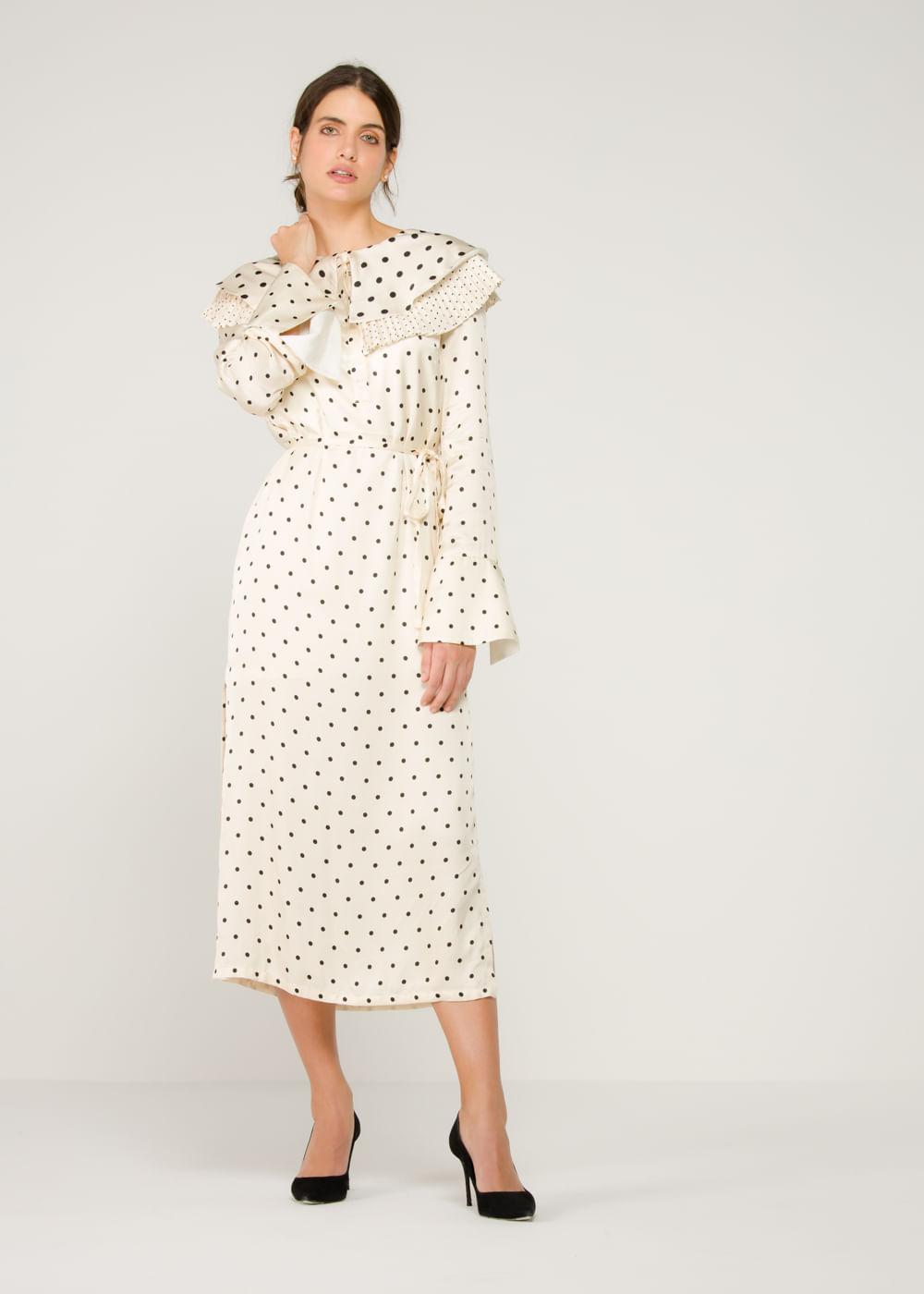 Vestido De Viscose Lenox Com Estampa De Poá  Branca 12 Uk