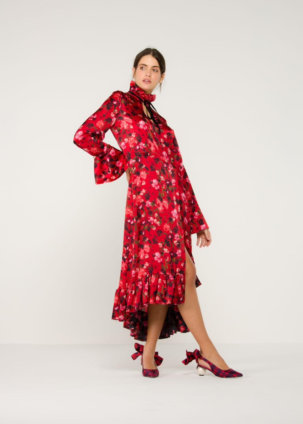Vestido Longo De Seda Adelaide Floral Vermelha 8 Uk
