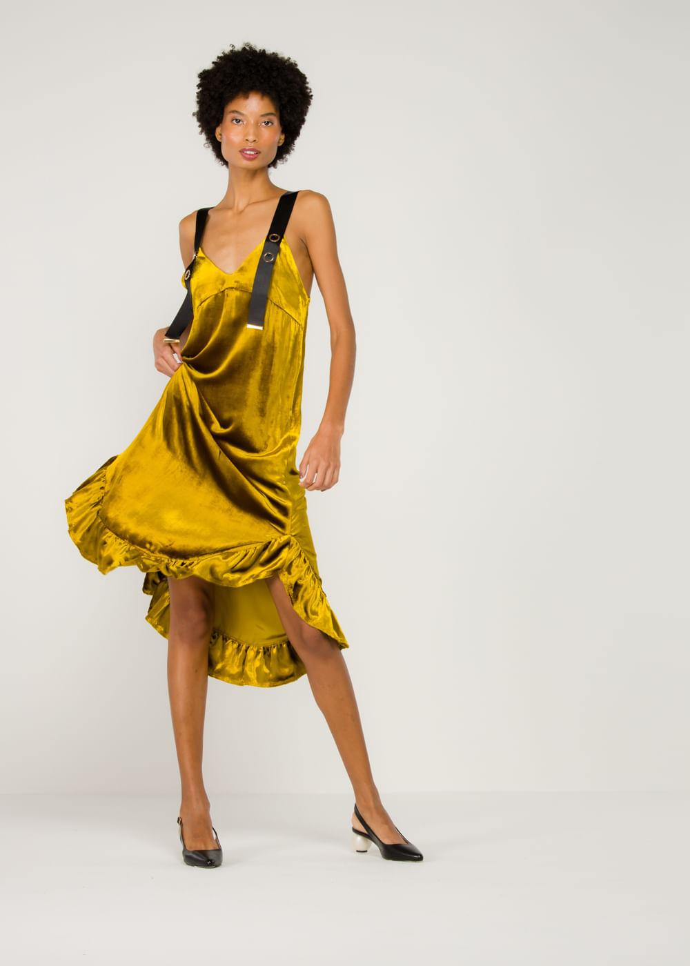 Vestido De Veludo Florence Amarelo Mostarda 8 Uk