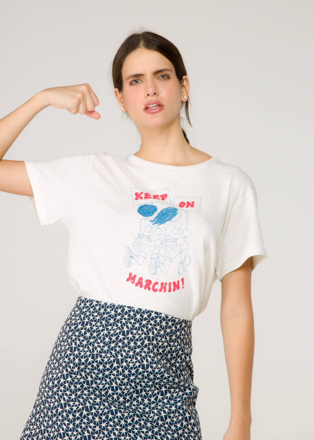 T-Shirt Keep On Marchin Off White P