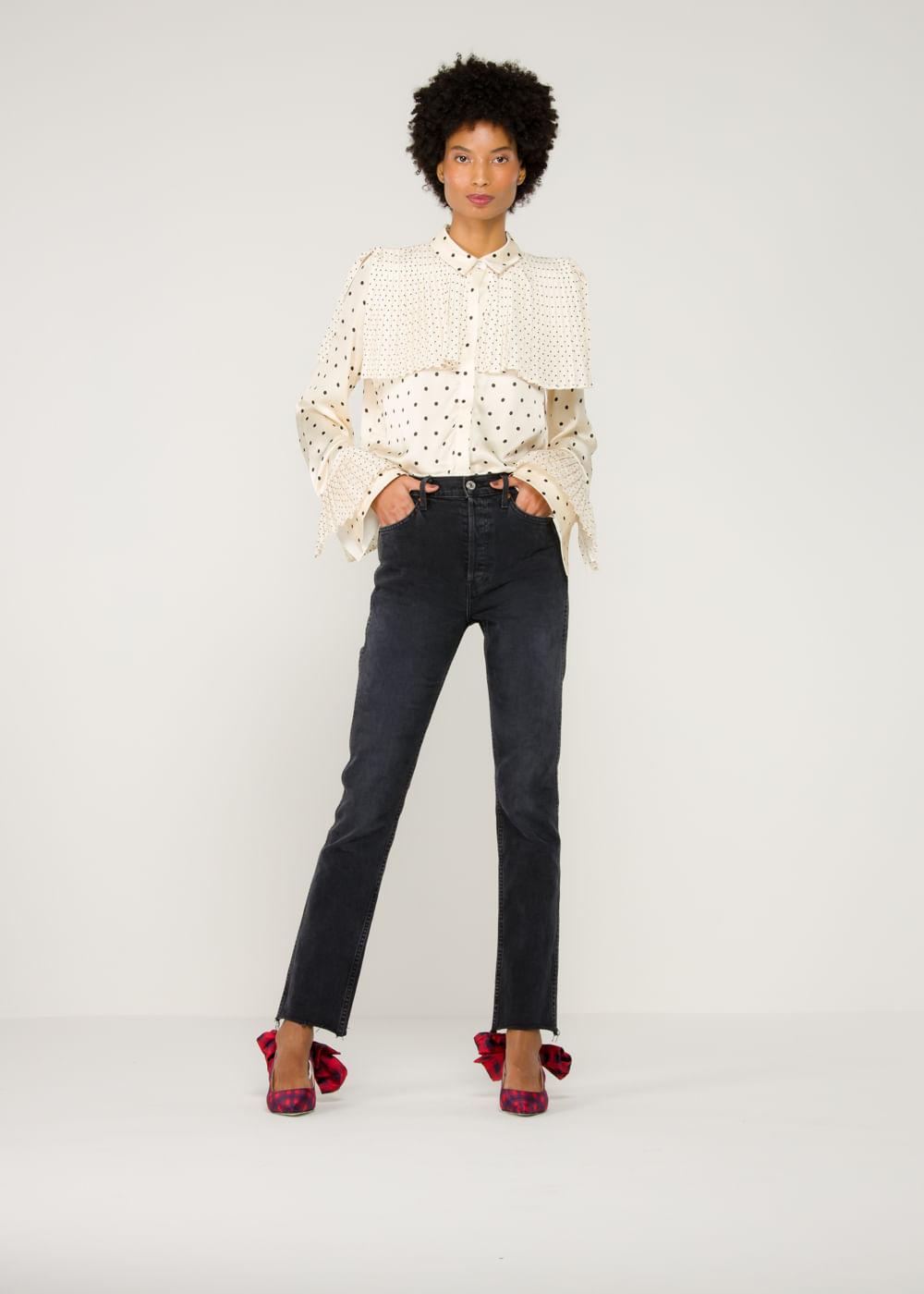 Calça Jeans Double Needle Long Preta Preta 28 Us