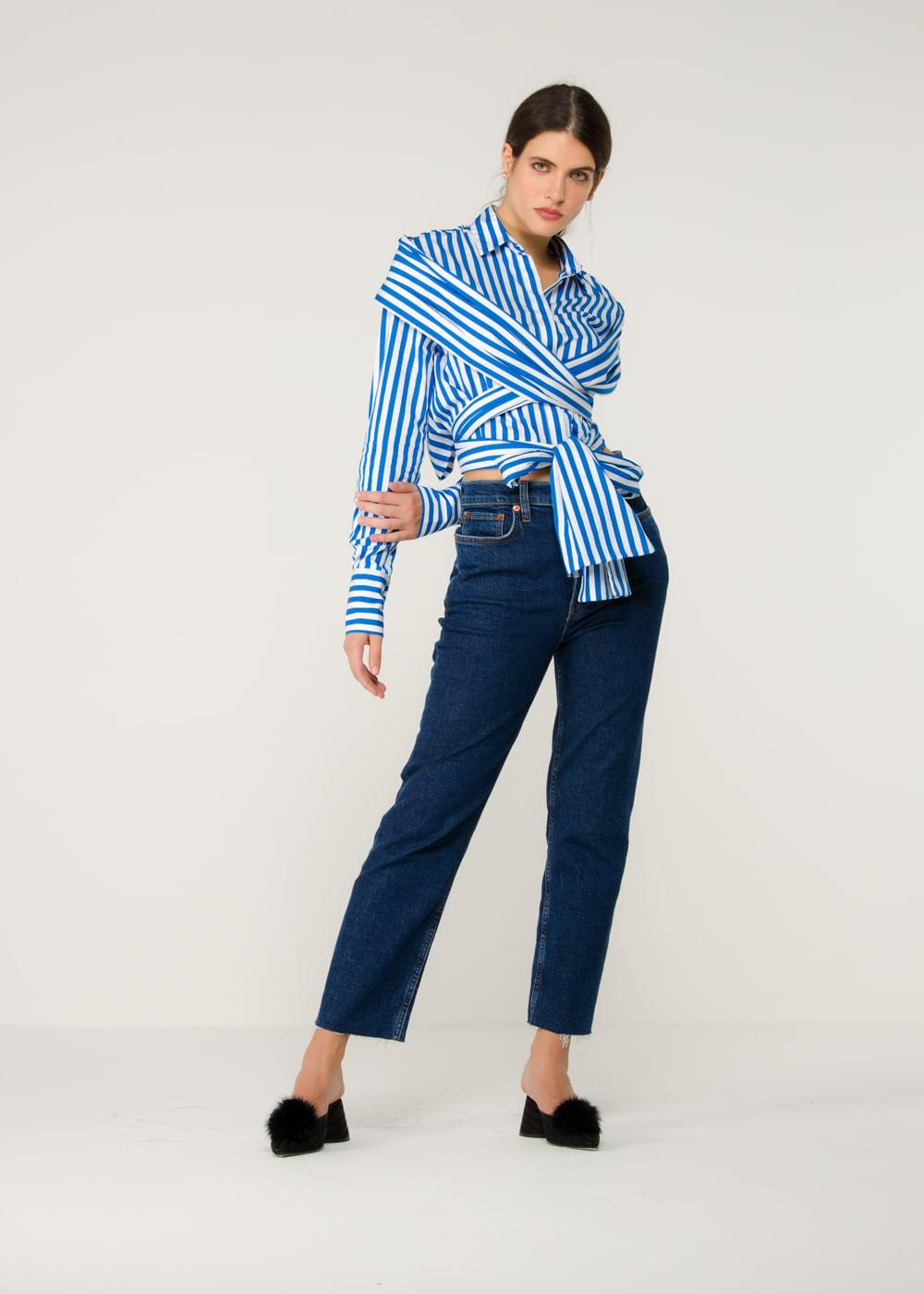 Calça Jeans High Rise Stovepipe Dark Jeans 29 Us