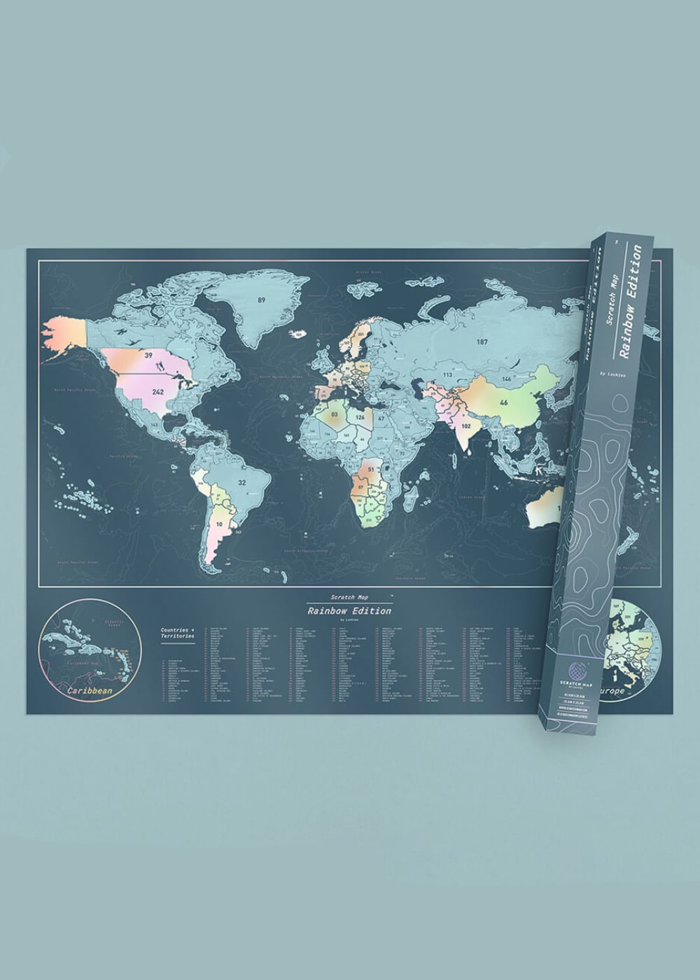 Mapa Mundi Raspadinha Edição Arco-Íris -Scratch Map  Colorida U