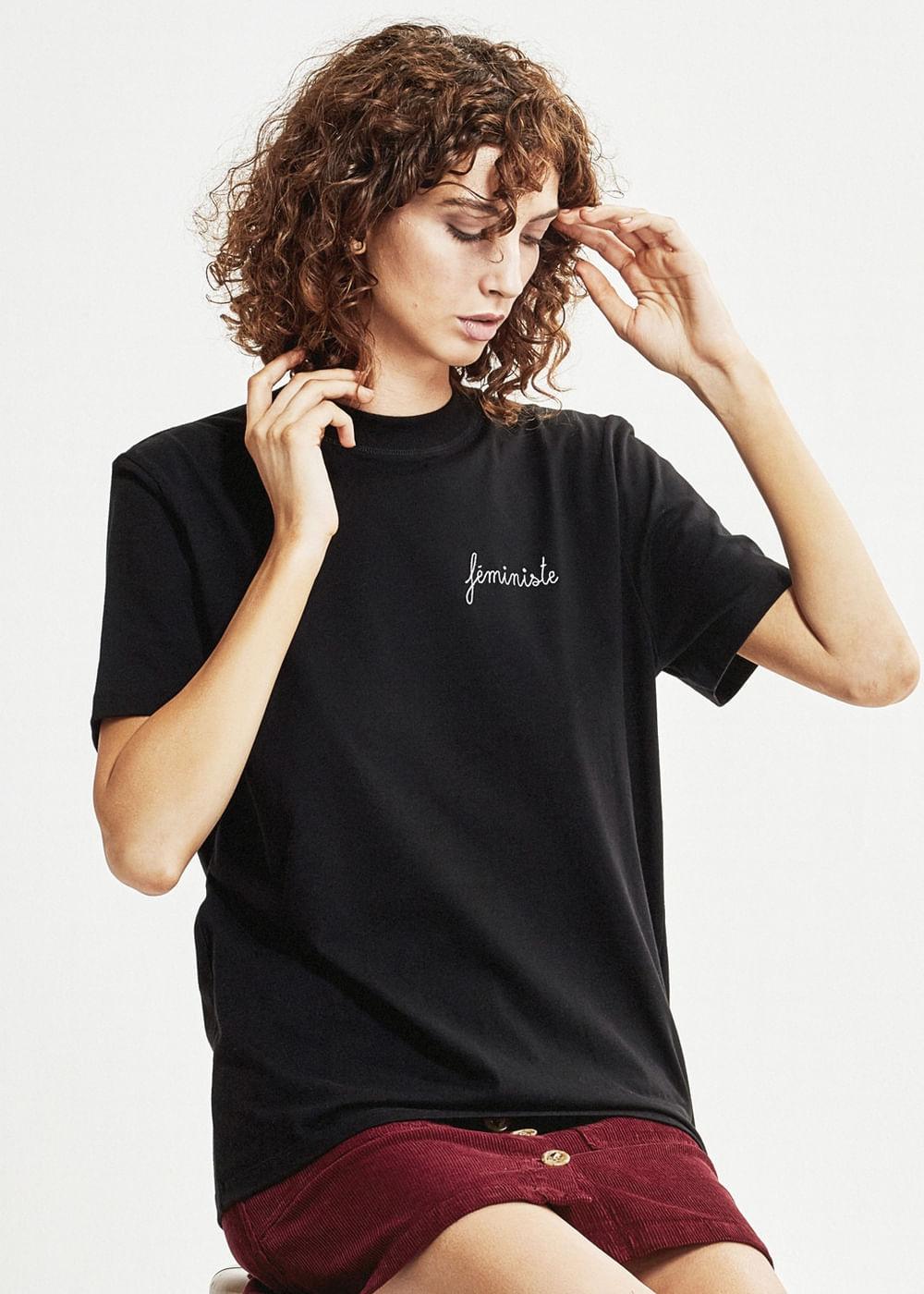 T-Shirt De Algodão Feministe Preta Preta P