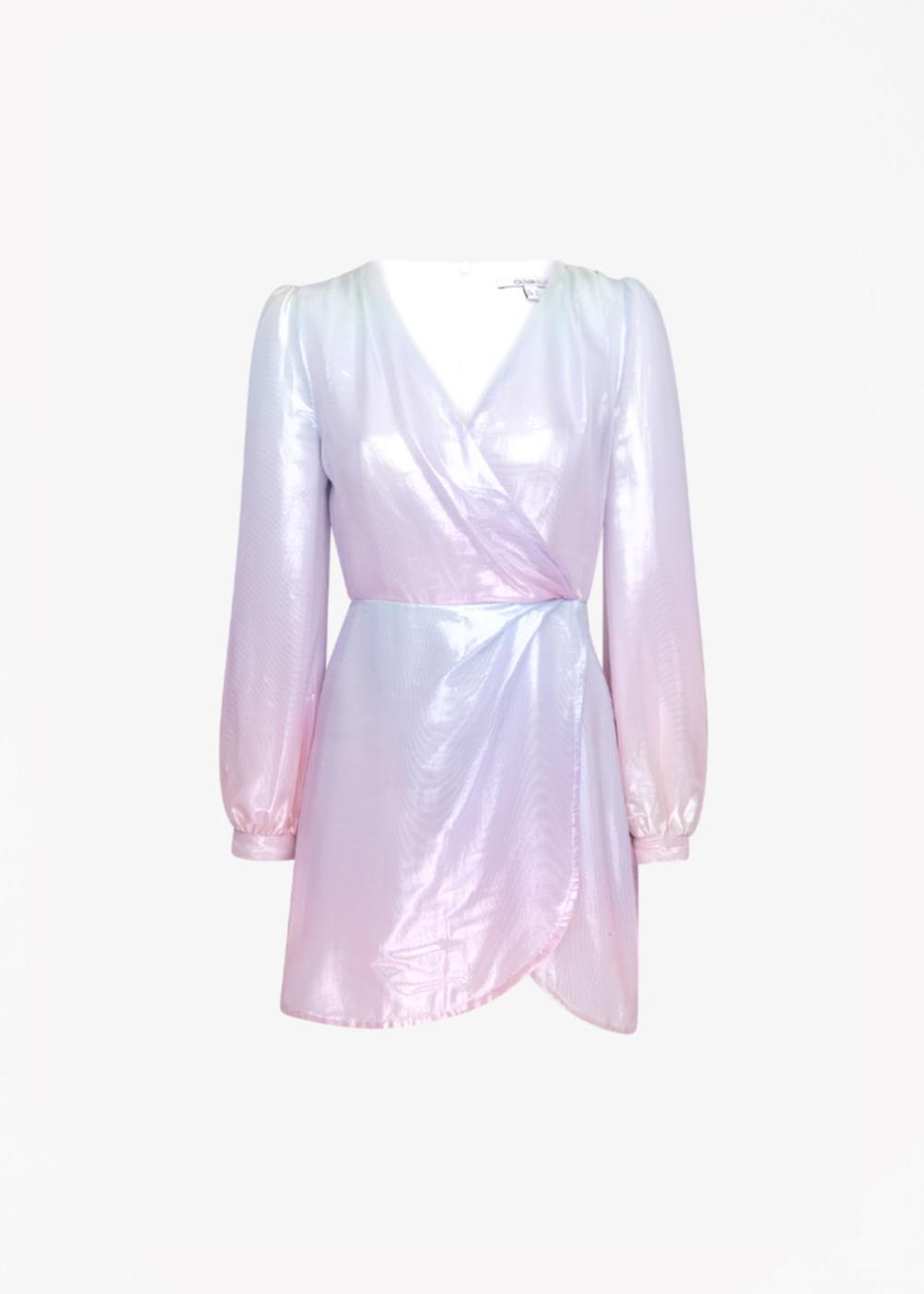 Vestido Curto De Metalizado Meg Lilás Colorida 8 Uk