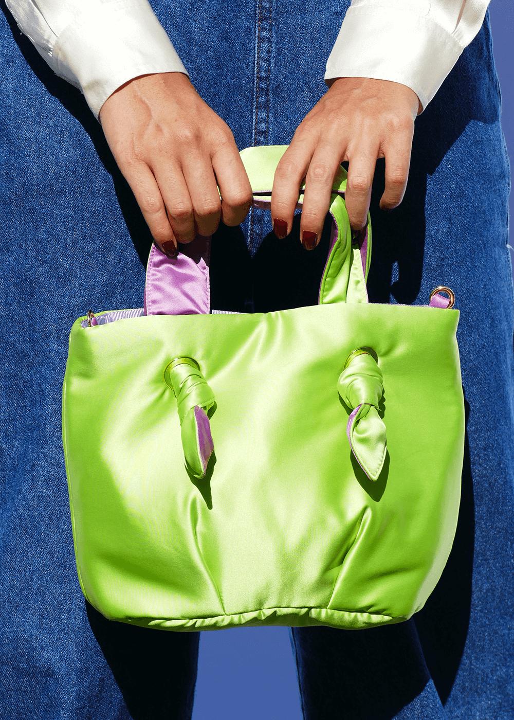 Bolsa Gueixa Limão Com Lilás Verde U